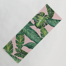 Jungle Leaves, Banana, Monstera II Pink #society6 Yoga Mat