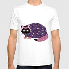 Abstract Cat [BLACK] SMALL White Mens Fitted Tee