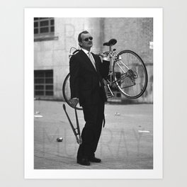 Bill F Murray stealing a bike. Rushmore production photo. Art Print