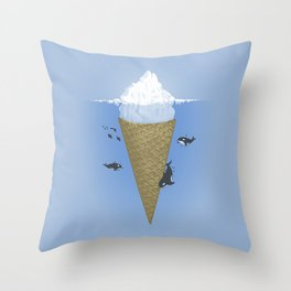 Ice Cream and Whale Throw Pillow