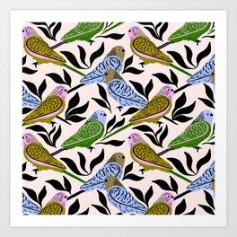 Modern Parakeets Art Print
