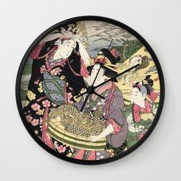 Fish market on the beach at Shiba, 1807 Wall Clock