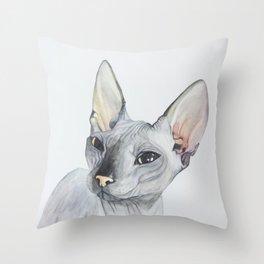 Cat Portrait #3 - Sphynx (2016) Throw Pillow