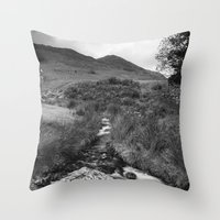 cassia beck Throw Pillows featuring Cinnerdale Beck above Crummock Water with Whiteless Pike beyond. Lake District, UK. by liamgrantfoto