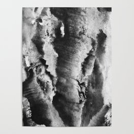 gray black and white gradient, marbling watercolor paint in monotype technique, abstract texture Poster