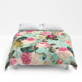 Vintage & Shabby Chic - Summer Teal Roses Flower Garden Comforters