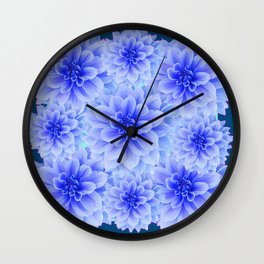 BLUE-WHITE DAHLIA FLOWERS IN  TEAL COLOR Wall Clock