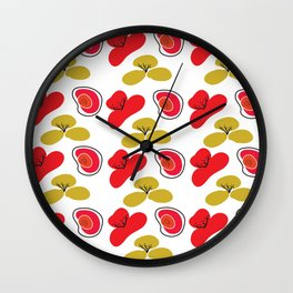 Digital Art Graphic Pattern Poppies Wall Clock