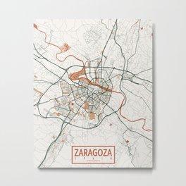 Zaragoza City Map of Aragon, Spain - Bohemian Metal Print