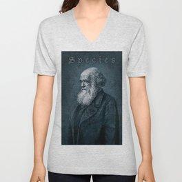 Species / Vintage portrait of Charles Darwin Unisex V-Neck