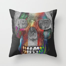 Tri Face Skelly Throw Pillow