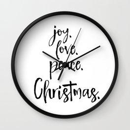 Joy.Love.Peace.Christmas. Typography Wall Clock
