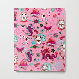 Lucky Cat Maneki Neko , Dragons and Koi fish On Pink Metal Print