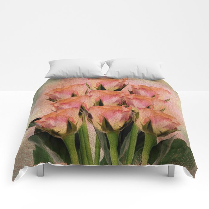 Poetic Romance Rose Abstract - Painterly Comforters