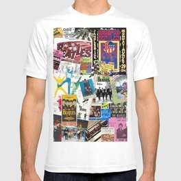 British Rock and Roll Invasion Fab Four Vintage Concert Rock and Roll Photography / Photographs Collage  T-shirt