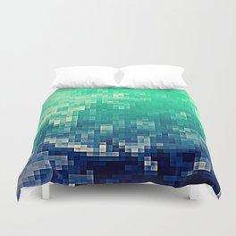 Green Teal Blue Pixels Duvet Cover