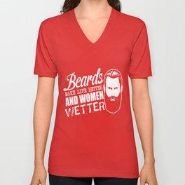Bearded men make life better and women wetter Unisex V-Neck