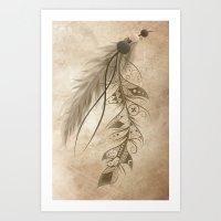 bohemian Art Prints featuring Bohemian Feather by LouJah