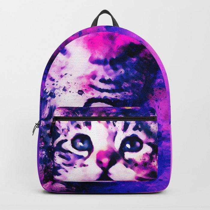 pianca baby cat kitten splatter watercolor purple pink Backpack