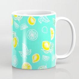 Modern summer bright yellow green lemon fruits watercolor illustration pattern on mint green Coffee Mug
