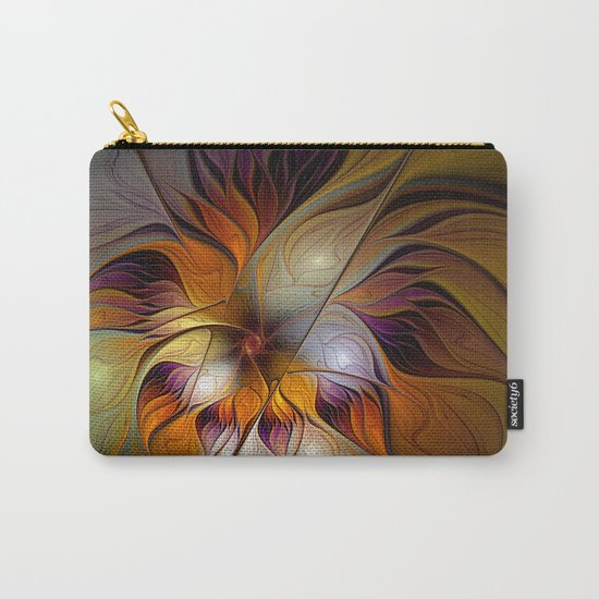 Autumn Flower, Colorful Abstract Fractal Art Carry-All Pouch