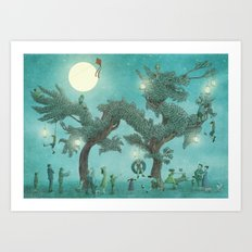 The Night Gardener - Dragon Tree night option  Art Print
