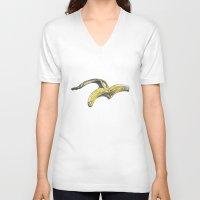 banana V-neck T-shirts featuring Banana by Barbara Graetzer