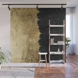 Faux Gold & Black Starry Night Brushstrokes Wall Mural