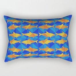Orange Sharks On Blue Square. Rectangular Pillow