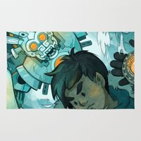 gundam Area & Throw Rugs featuring Aztec Gundam by CKellyIllustration