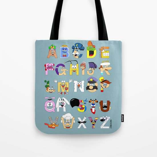 Breakfast Mascot Alphabet Tote Bag