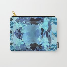 APRIL BIRTHSTONE BLUE AQUAMARINES FACETED GEMS  ART Carry-All Pouch