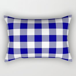 Gingham (Navy Blue/White) Rectangular Pillow