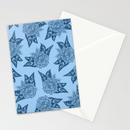 Cabbage Roses in Blue Stationery Cards