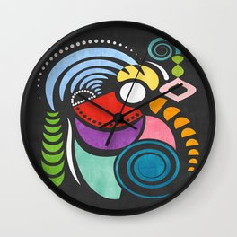 Rad Rooster - Colorful Abstract Geometric Watercolor Wall Clock