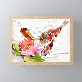 Koi Pond, feng shui koi fish art, design Framed Mini Art Print