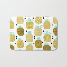 Pineapples triangles black and white minimal pattern tropical fruits print Bath Mat