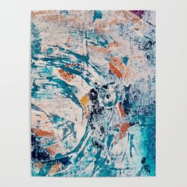 Reflections: a bold and interesting abstract mixed media piece in blues, yellows, orange, and white Poster