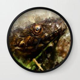 """Viperine water snake """"Natrix maura"""" - watercolor Wall Clock"""