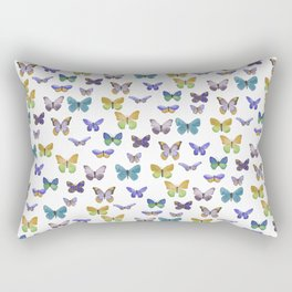 Butterfly Pattern in blue, green & yellow Rectangular Pillow