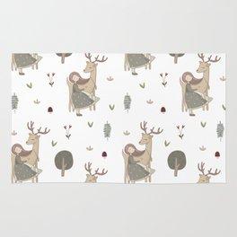 Girl and Deer - white Rug