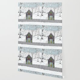 Christmas Cabin In The Snowy Woods Wallpaper