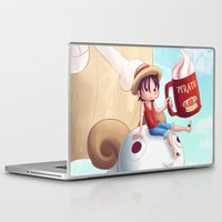 luffy Laptop & iPad Skins featuring Straw Hat Luffy by Amber Graves