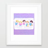 shinee Framed Art Prints featuring SHINee Sleepover by sophillustration