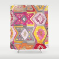 kilim Shower Curtains featuring Kilim Me Softly in Pink by Bee&Lotus