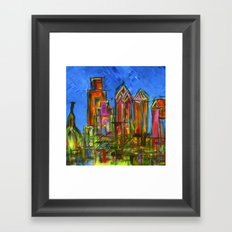 Philly Neon Skyline Framed Art Print