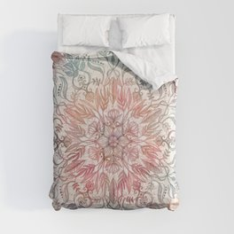 Autumn Spice Mandala in Coral, Cream and Rose Comforters