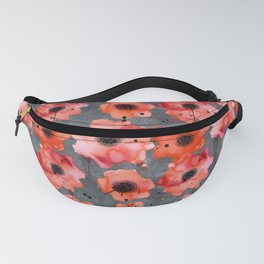 Watercolor poppies on gray background Fanny Pack