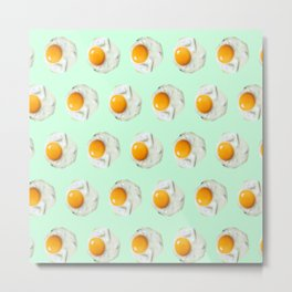 mint green funny food pattern breakfast eggs Metal Print