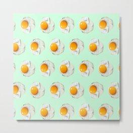 mint green funny food pattern breakfast eggs Metal Print